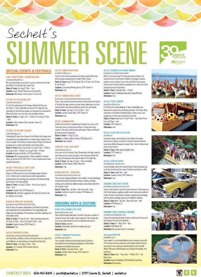 Sechelt's Summer Scene - event guide